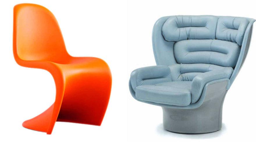 Стул Panton, дизайнер Вернер Пантон, Vitra и кресло Elda 1005, дизайнер Джо Коломбо, Fratelli Longhi.